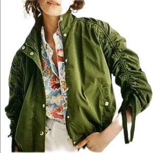 JCrew  green field utility jacket ruched sleeves